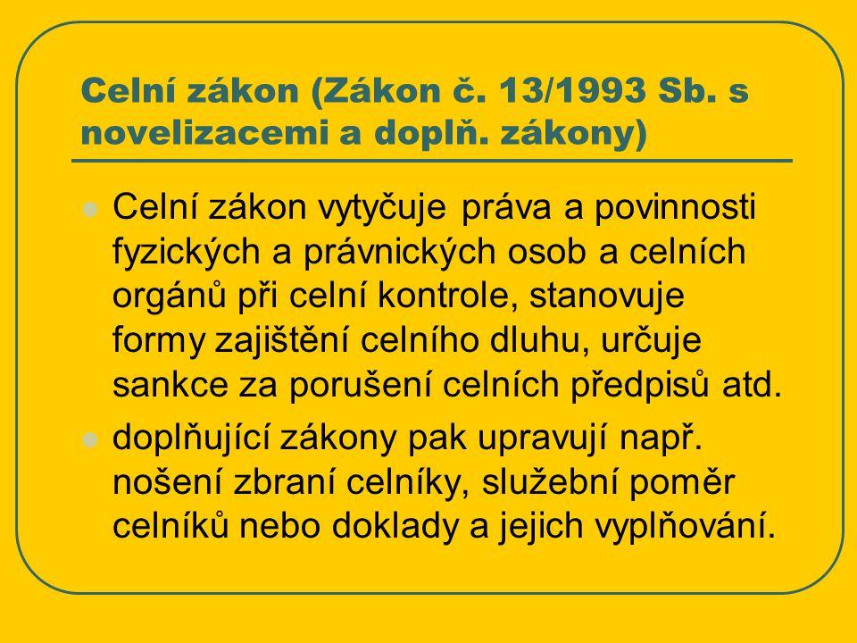 Celní zákon (Zákon č. 13/1993 Sb. s novelizacemi a doplň. zákony)