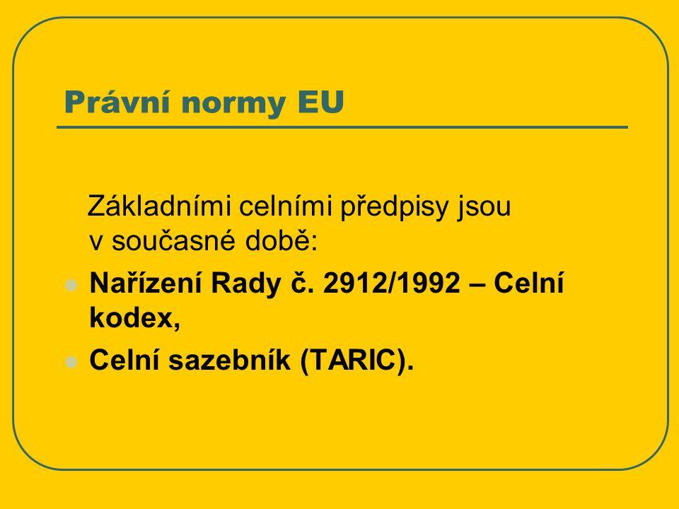 Právní normy EU Základními celními předpisy jsou v současné době: