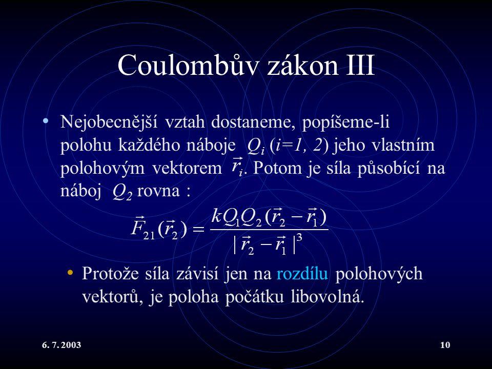 Coulombův zákon III