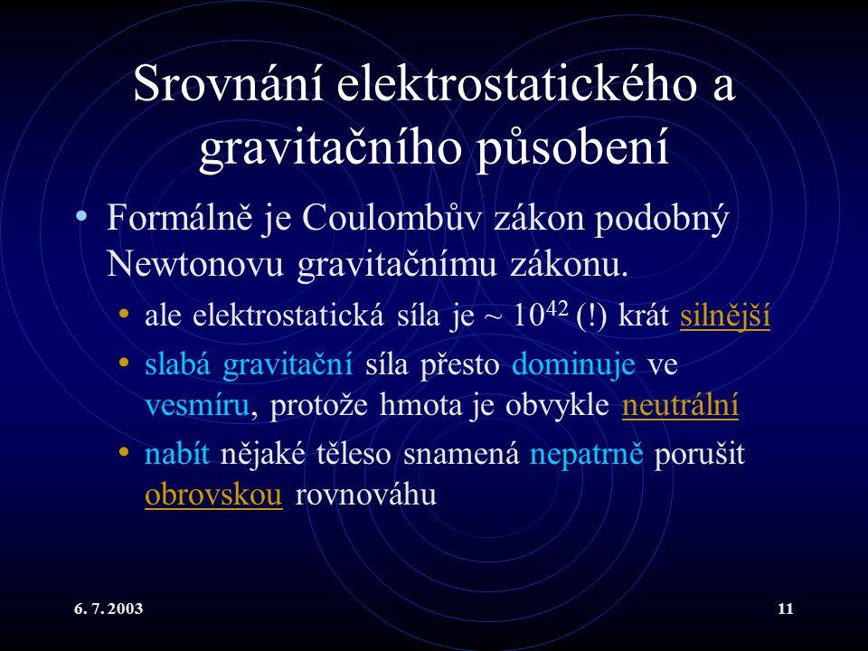 Srovnání elektrostatického a gravitačního působení