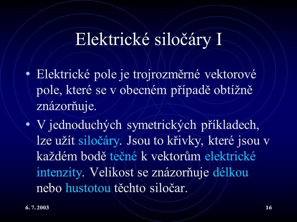 Elektrické siločáry I Elektrické pole je trojrozměrné vektorové pole, které se v obecném případě obtížně znázorňuje.