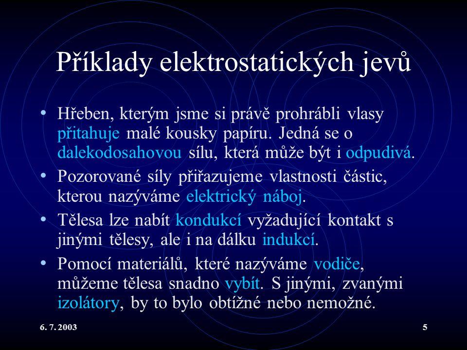 Příklady elektrostatických jevů