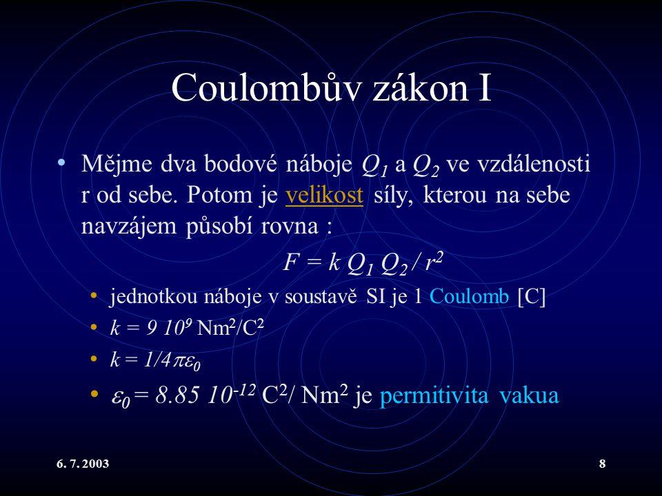 Coulombův zákon I Mějme dva bodové náboje Q1 a Q2 ve vzdálenosti r od sebe. Potom je velikost síly, kterou na sebe navzájem působí rovna :
