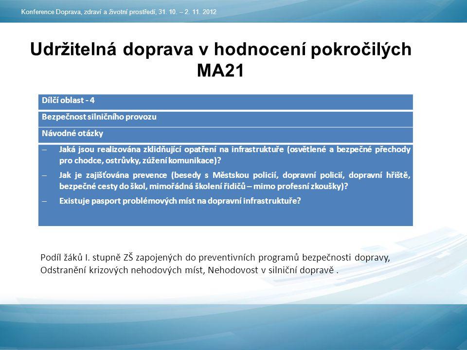 Udržitelná doprava v hodnocení pokročilých MA21