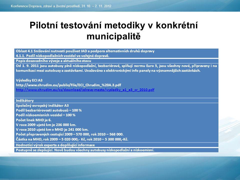 Pilotní testování metodiky v konkrétní municipalitě