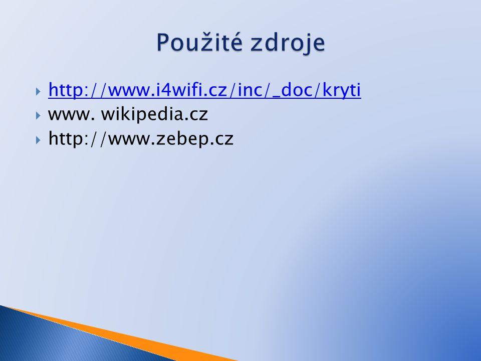 Použité zdroje http://www.i4wifi.cz/inc/_doc/kryti www. wikipedia.cz
