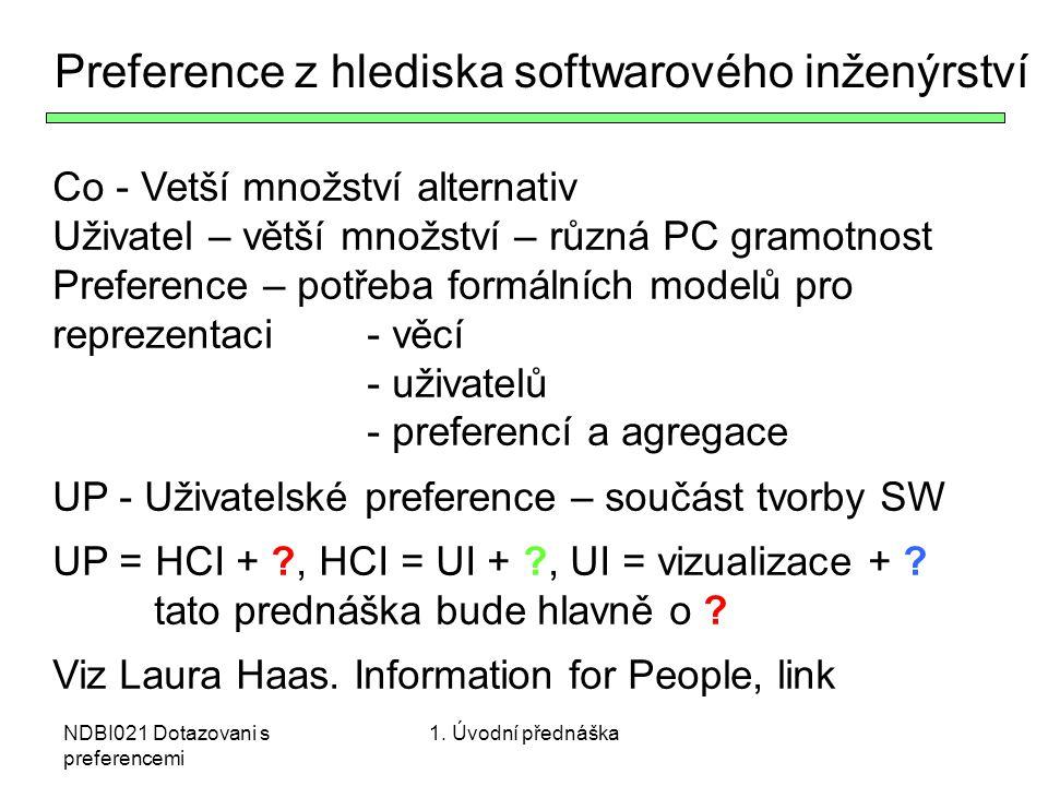Preference z hlediska softwarového inženýrství