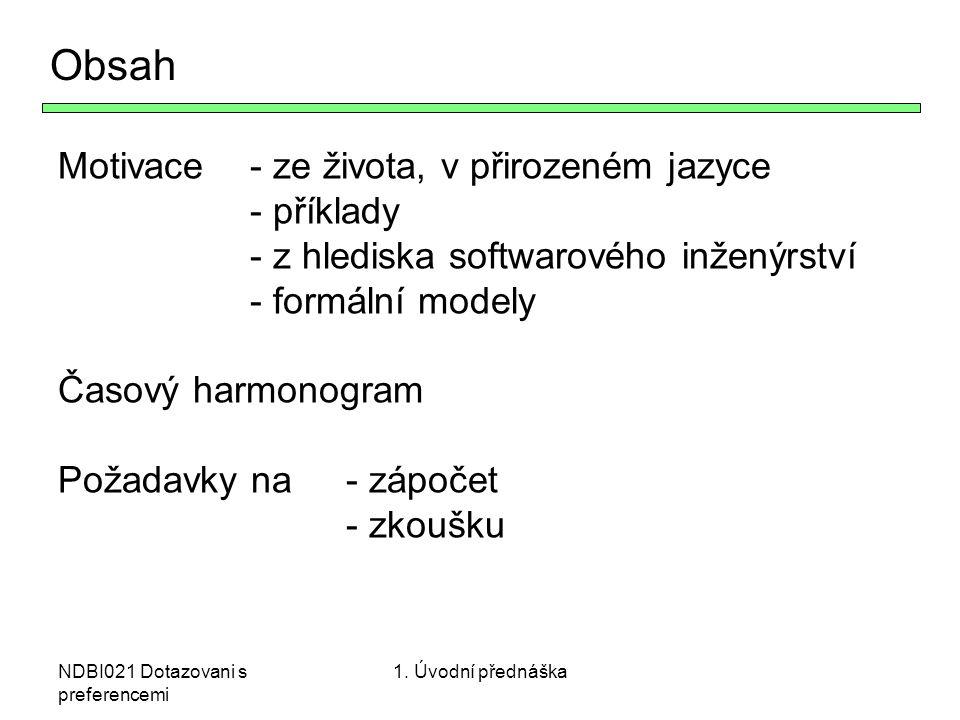 Obsah Motivace - ze života, v přirozeném jazyce - příklady