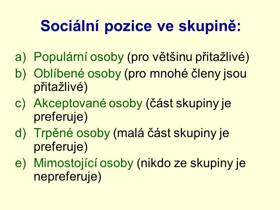 Sociální pozice ve skupině: