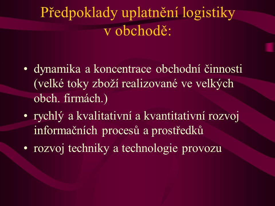 Předpoklady uplatnění logistiky v obchodě: