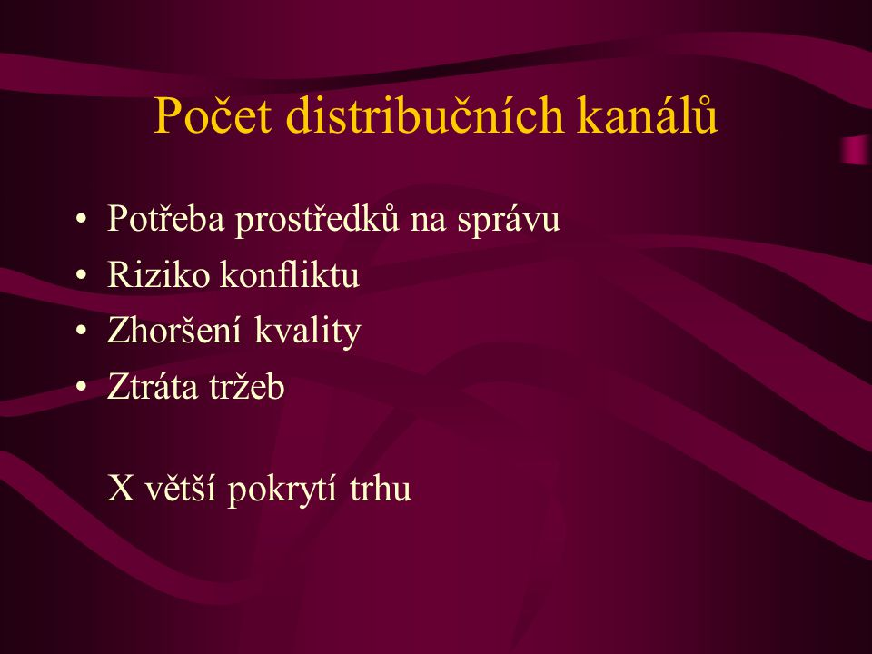 Počet distribučních kanálů