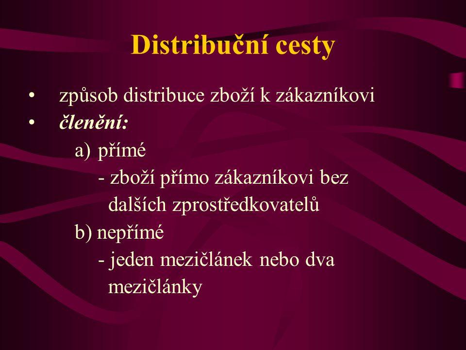 Distribuční cesty způsob distribuce zboží k zákazníkovi členění: přímé