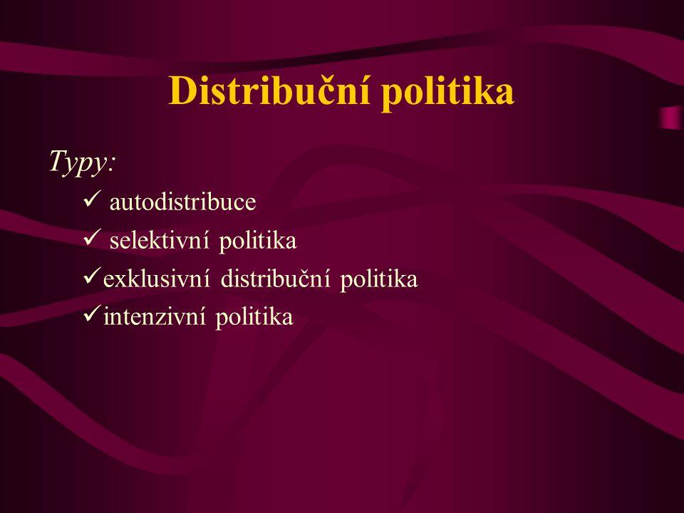 Distribuční politika Typy: autodistribuce selektivní politika