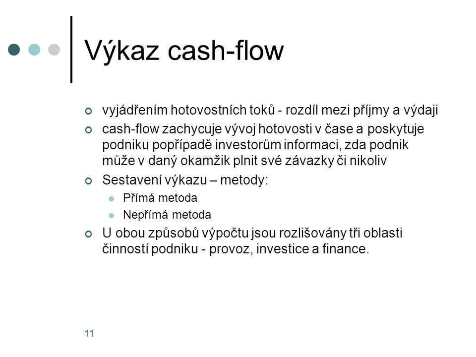 Výkaz cash-flow vyjádřením hotovostních toků - rozdíl mezi příjmy a výdaji.
