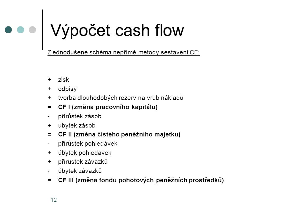 Výpočet cash flow
