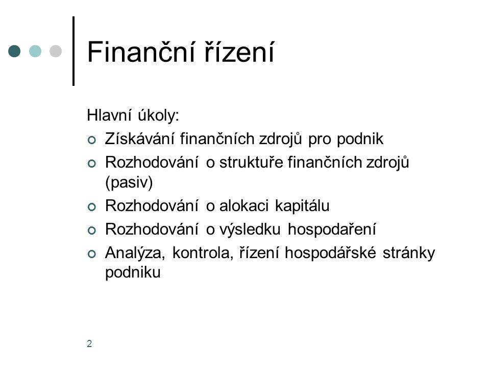 Finanční řízení Hlavní úkoly: Získávání finančních zdrojů pro podnik