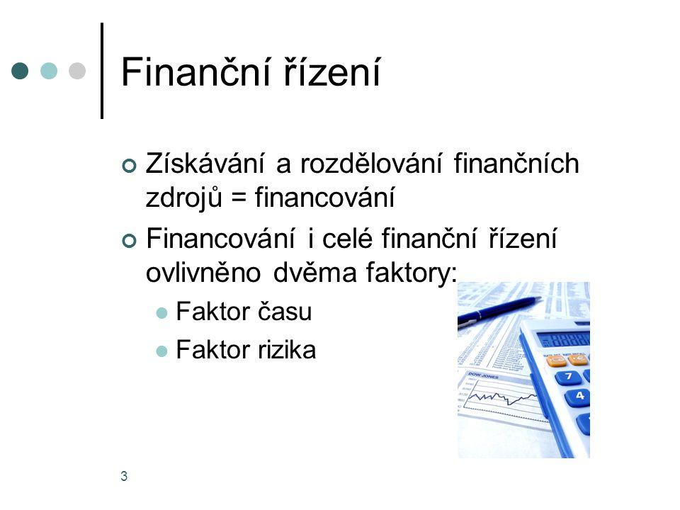 Finanční řízení Získávání a rozdělování finančních zdrojů = financování. Financování i celé finanční řízení ovlivněno dvěma faktory: