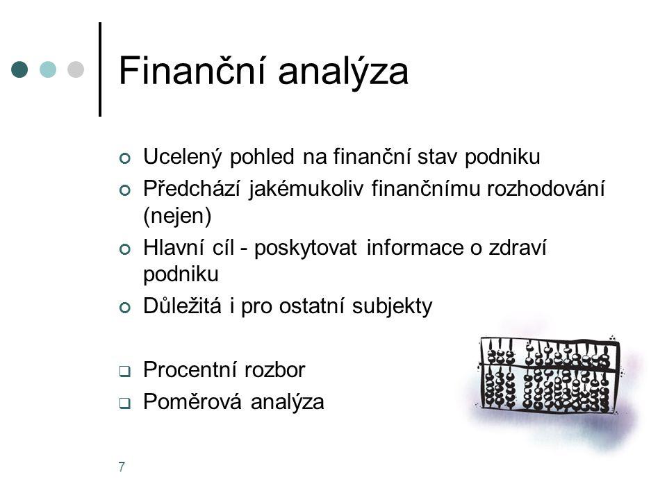 Finanční analýza Ucelený pohled na finanční stav podniku