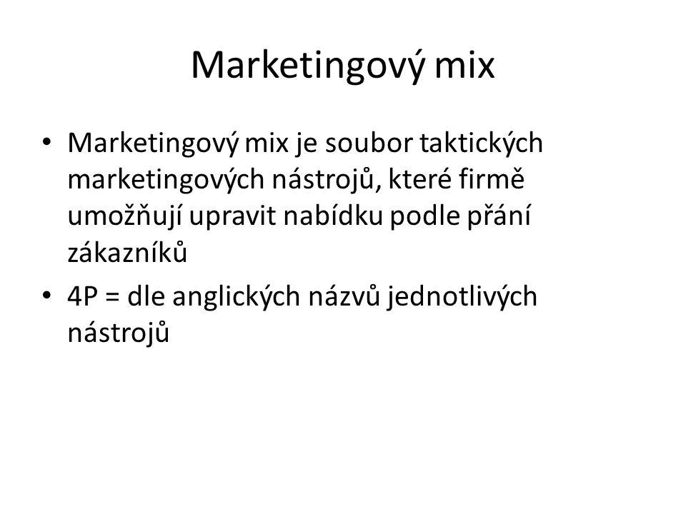 Marketingový mix Marketingový mix je soubor taktických marketingových nástrojů, které firmě umožňují upravit nabídku podle přání zákazníků.