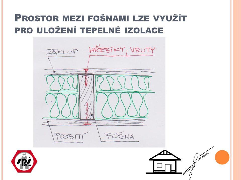 Prostor mezi fošnami lze využít pro uložení tepelné izolace