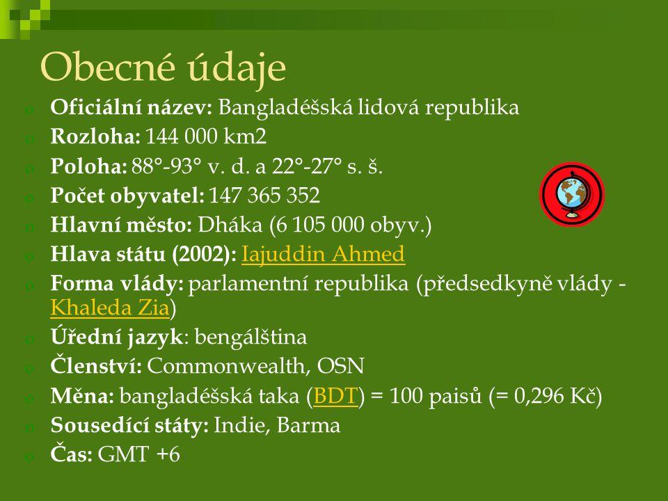 Obecné údaje Oficiální název: Bangladéšská lidová republika