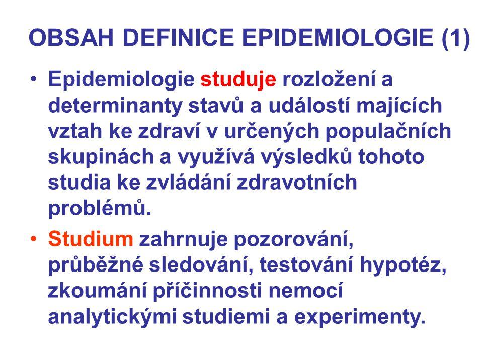 OBSAH DEFINICE EPIDEMIOLOGIE (1)