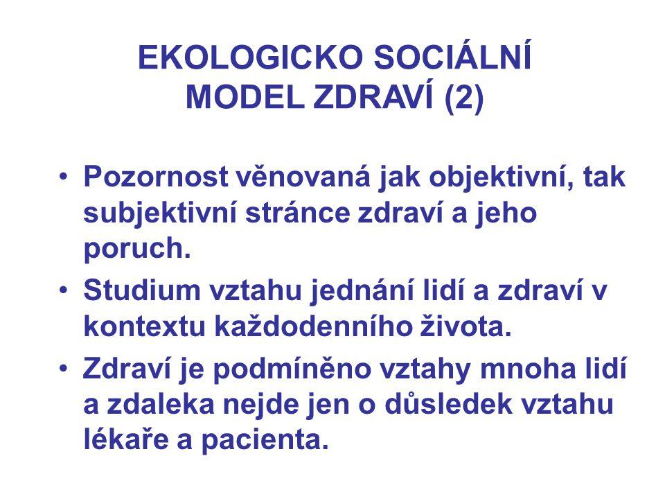 EKOLOGICKO SOCIÁLNÍ MODEL ZDRAVÍ (2)