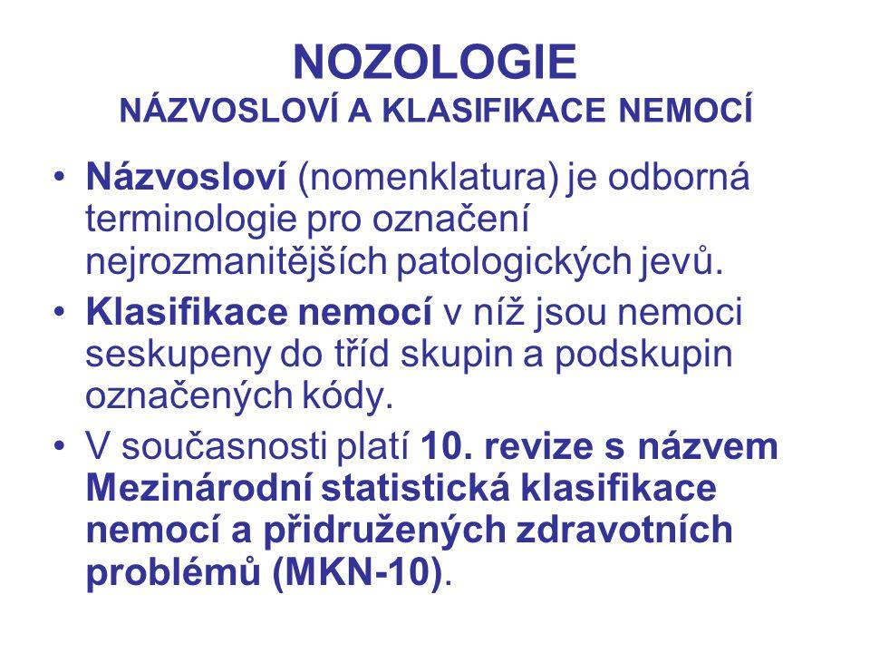 NOZOLOGIE NÁZVOSLOVÍ A KLASIFIKACE NEMOCÍ