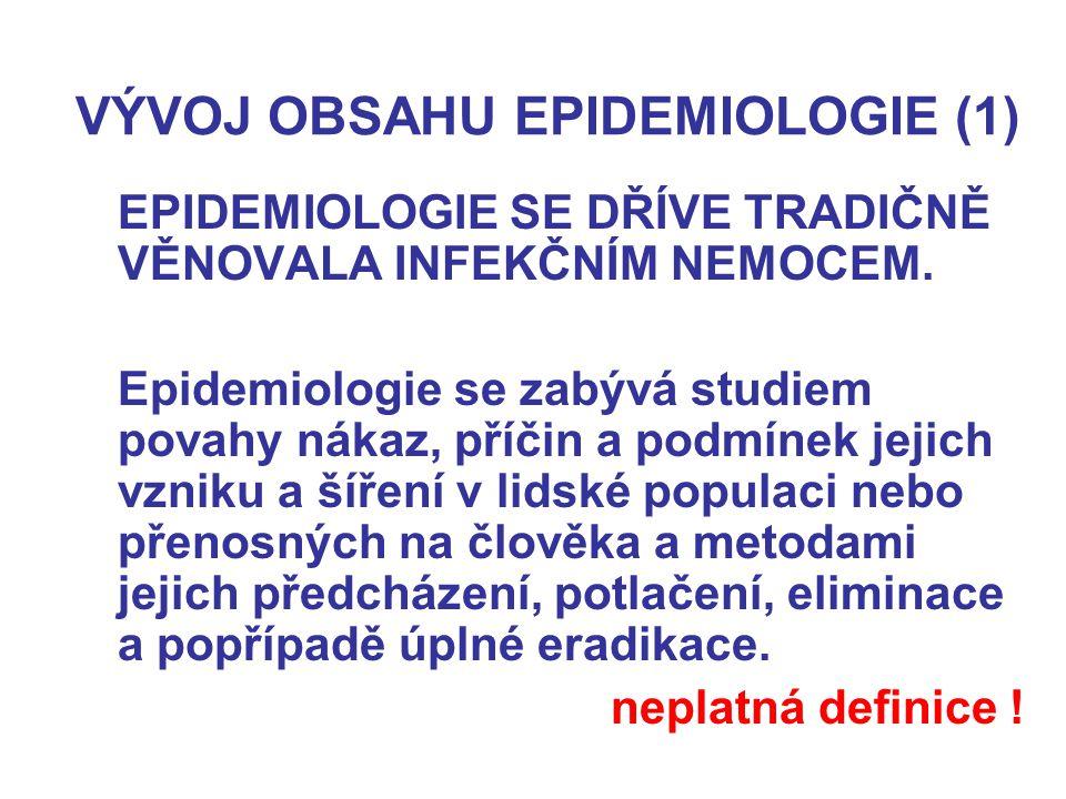VÝVOJ OBSAHU EPIDEMIOLOGIE (1)