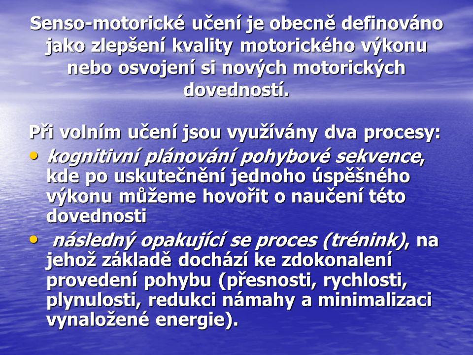 Senso-motorické učení je obecně definováno jako zlepšení kvality motorického výkonu nebo osvojení si nových motorických dovedností.