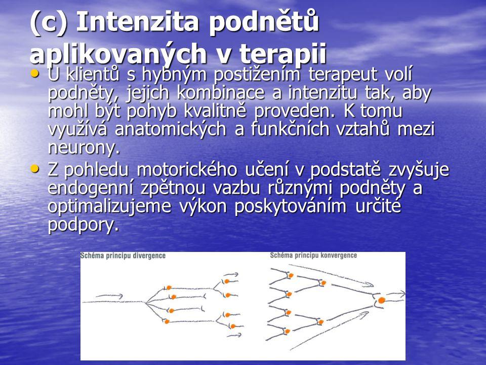 (c) Intenzita podnětů aplikovaných v terapii