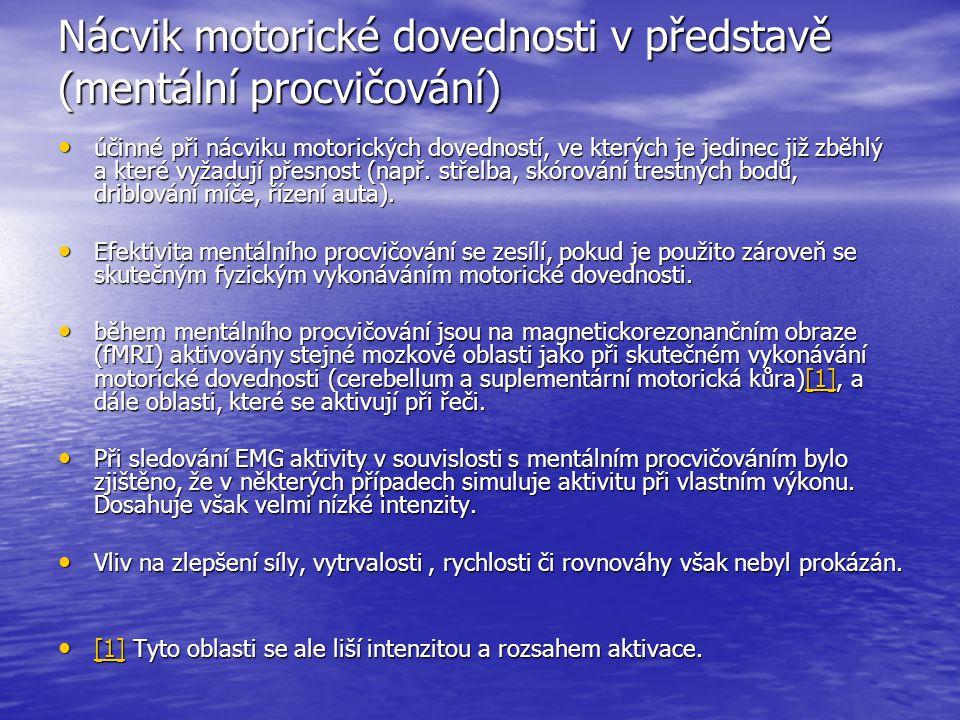 Nácvik motorické dovednosti v představě (mentální procvičování)