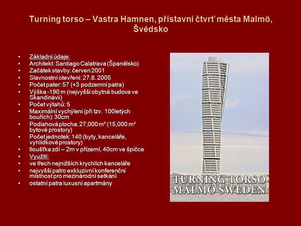 Turning torso – Vastra Hamnen, přístavní čtvrť města Malmö, Švédsko