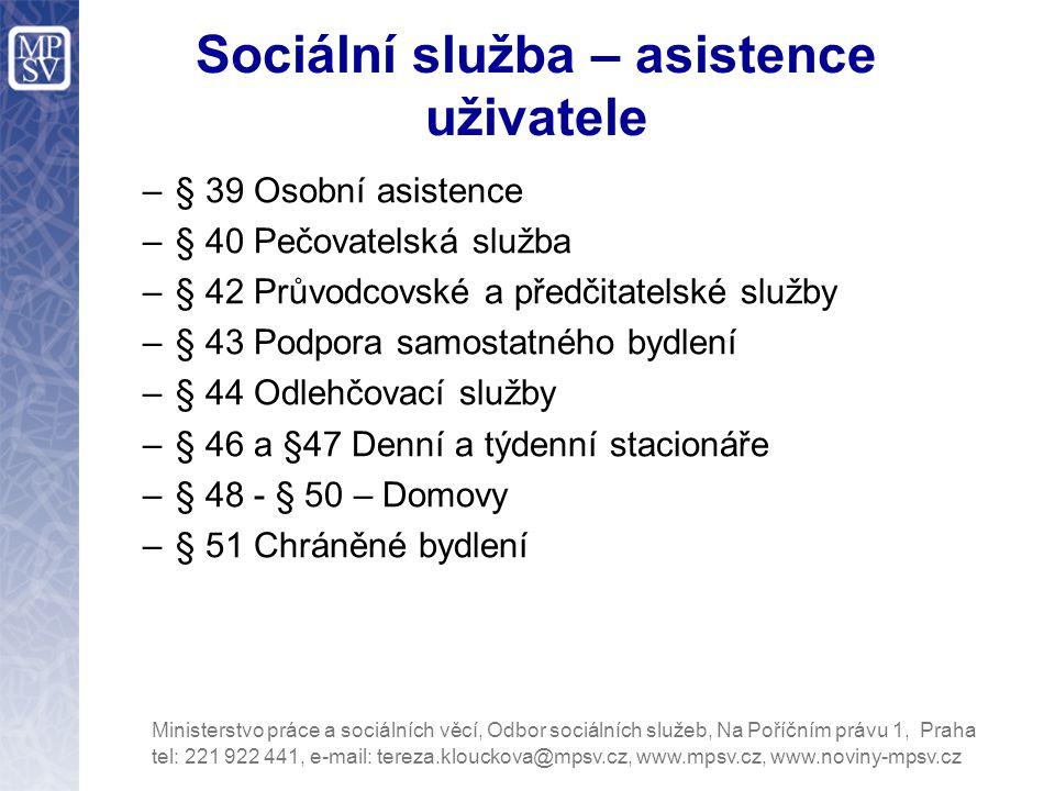 Sociální služba – asistence uživatele