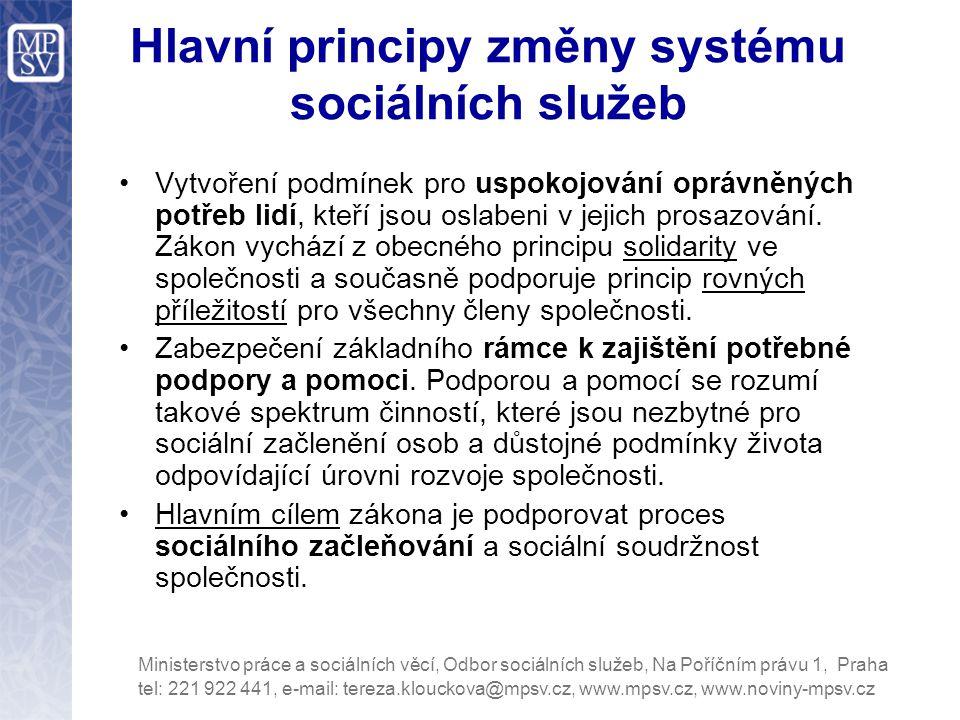 Hlavní principy změny systému sociálních služeb