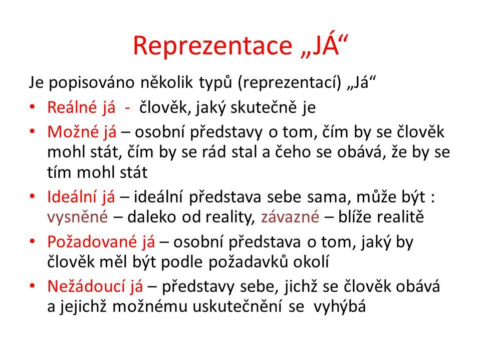 """Reprezentace """"JÁ Je popisováno několik typů (reprezentací) """"Já"""