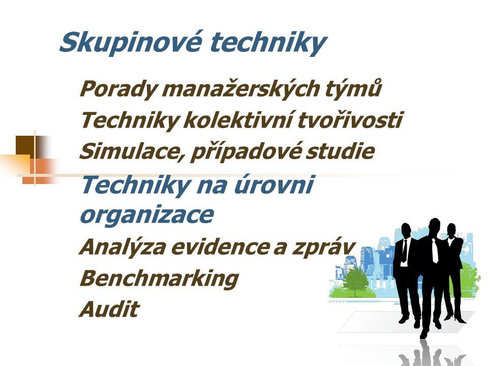 Skupinové techniky Techniky na úrovni organizace