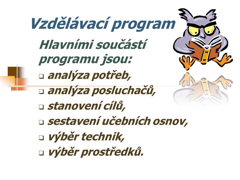 Vzdělávací program Hlavními součástí programu jsou: analýza potřeb,