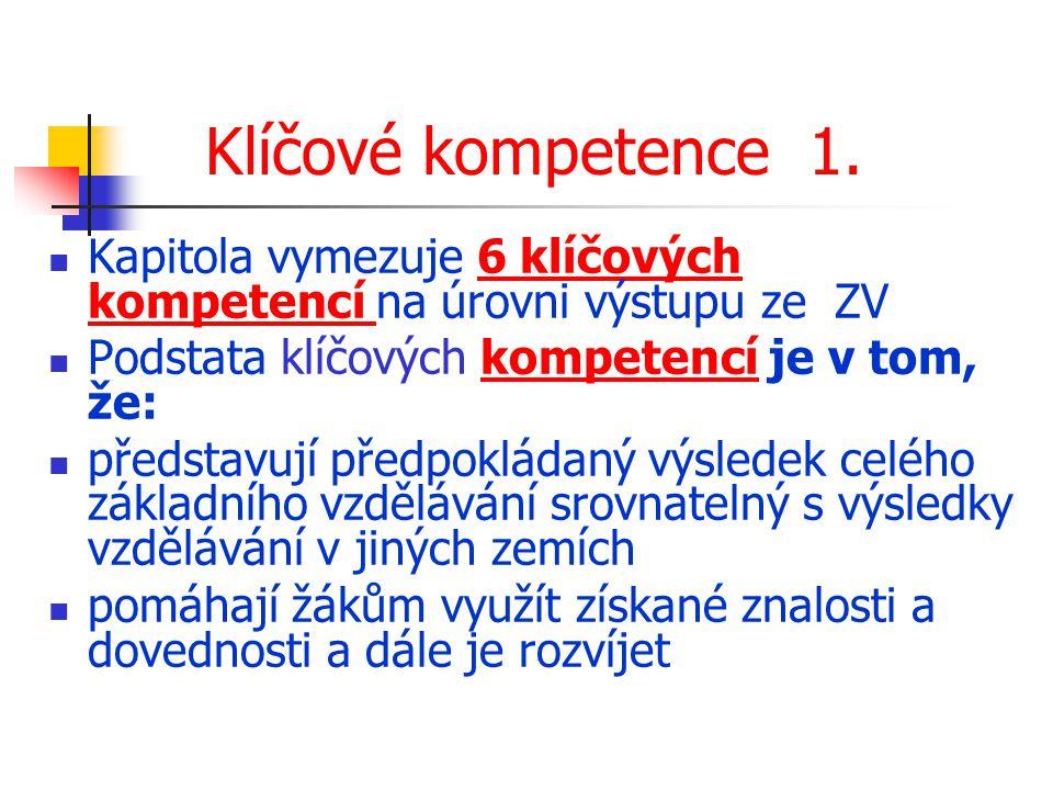 Klíčové kompetence 1. Kapitola vymezuje 6 klíčových kompetencí na úrovni výstupu ze ZV. Podstata klíčových kompetencí je v tom, že: