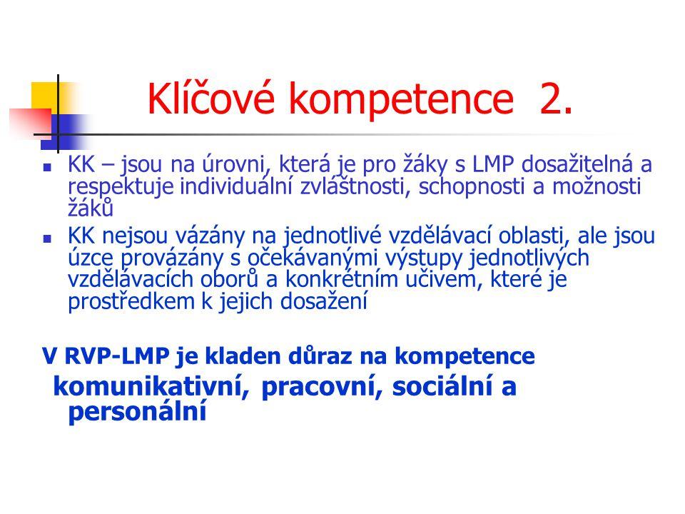 Klíčové kompetence 2. KK – jsou na úrovni, která je pro žáky s LMP dosažitelná a respektuje individuální zvláštnosti, schopnosti a možnosti žáků.