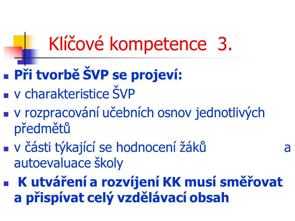 Klíčové kompetence 3. Při tvorbě ŠVP se projeví: v charakteristice ŠVP
