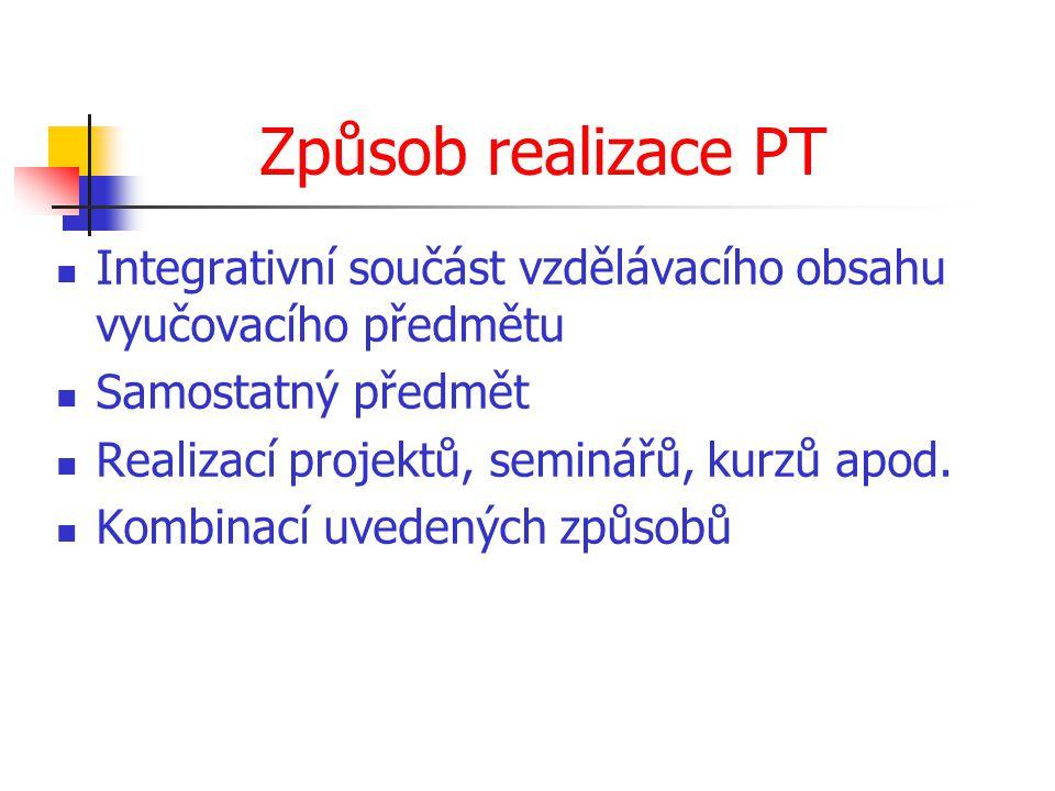 Způsob realizace PT Integrativní součást vzdělávacího obsahu vyučovacího předmětu. Samostatný předmět.