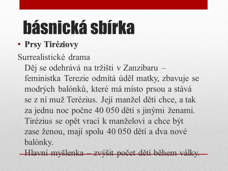 básnická sbírka Prsy Tiréziovy