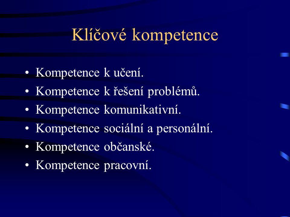 Klíčové kompetence Kompetence k učení. Kompetence k řešení problémů.