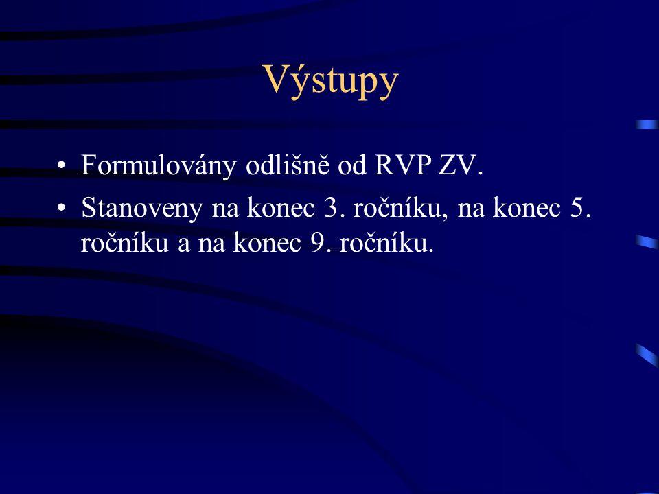 Výstupy Formulovány odlišně od RVP ZV.