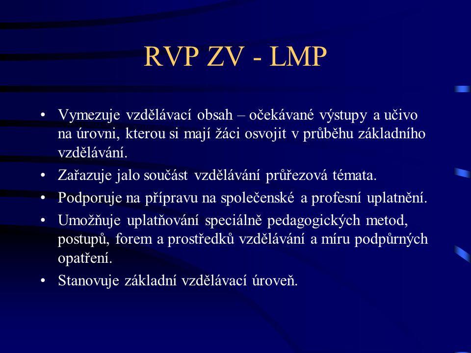 RVP ZV - LMP Vymezuje vzdělávací obsah – očekávané výstupy a učivo na úrovni, kterou si mají žáci osvojit v průběhu základního vzdělávání.