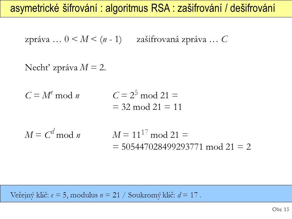 asymetrické šifrování : algoritmus RSA : zašifrování / dešifrování