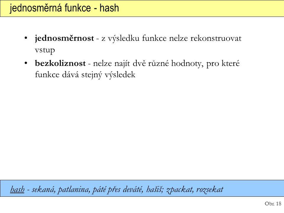 jednosměrná funkce - hash