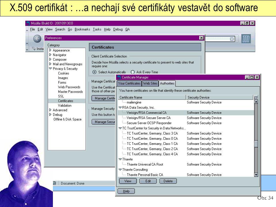 X.509 certifikát : …a nechají své certifikáty vestavět do software