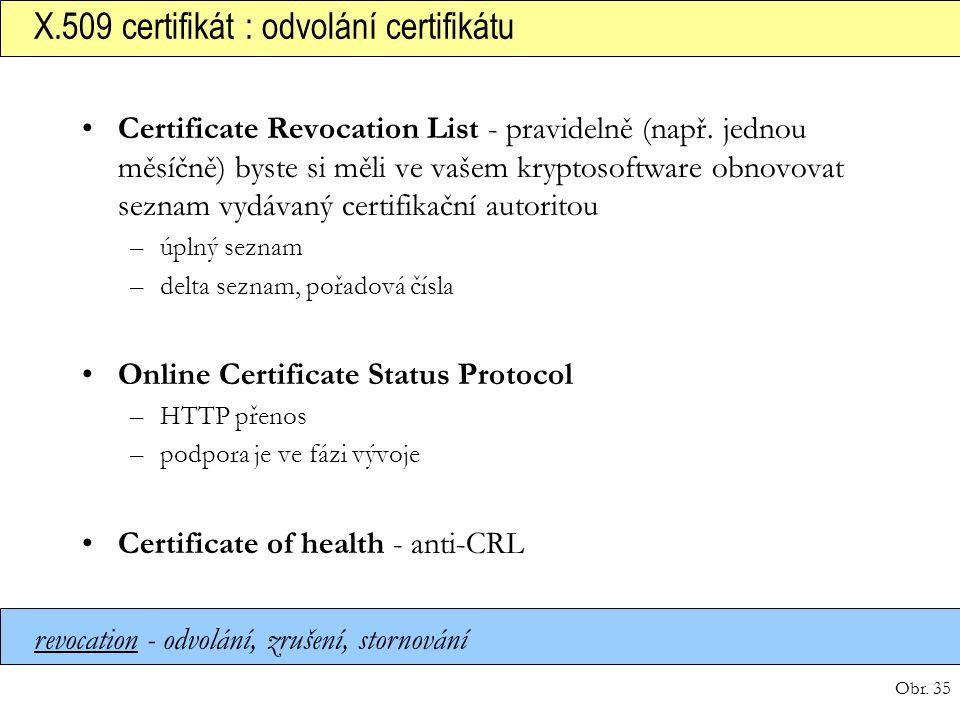 X.509 certifikát : odvolání certifikátu